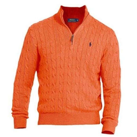 Ralph Lauren Sweaters Polo Ralph Lauren 725 Mens Orange Cable Knit Mock Poshmark